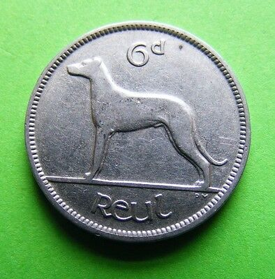Ireland Wolfhound Dog And Harp First Year Issued 1928 Irish Sixpence Coin