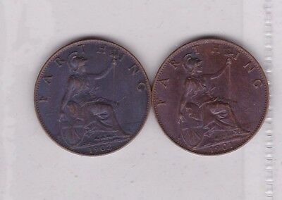 1901 & 1902 Victoria & Edward Vii Bronze Farthings In Near Mint Condition