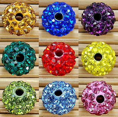 20pcs 10mm Shamballa Kristall Perlen Beads Strass DIY Disco Kugel Ball DIY Hot