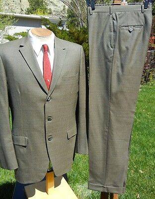 1960s MADMEN 3 Button BESPOKE Wool Suit 42R 32x31- ALL BUSINESS