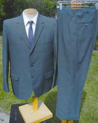 PACIFIC BLUE 1960s 3 Button Suit 44R 34x29 - Alterable Minimax by Sears Roebuck
