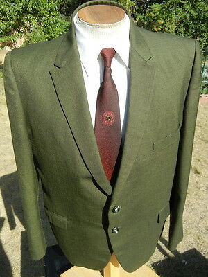 Vintage 1960s Moss Green Suit Jacket Sport Coat 45R - Madmen Look by Harmony