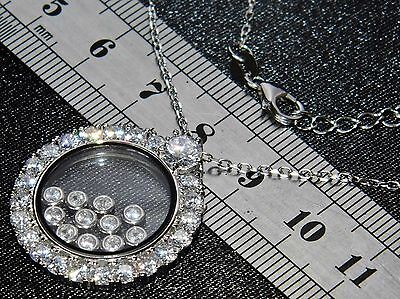 Sterling Silver (925) Floating Diamond's Ladies Pendant & Chain / Necklace