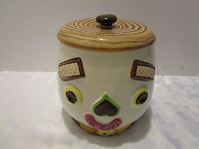 "Napco Cookie jar all over two face Happy & Sad Anthropomorphic Japan 8""T vintage"