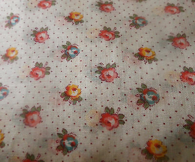 Antique Vintage Petite Roses Dot Light Cotton Fabric ~ pink blue yellow ~ dolls