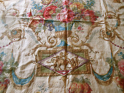 Antique English Neo Classic Floral Roses Urn Cherub Linen Fabric ~ Blue Pink Red
