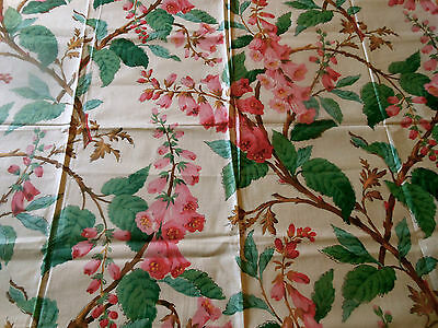 Antique Vintage English Foxglove Floral Cotton Chintz Fabric ~ Pink Green