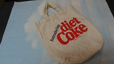 Vintage 1982 Introducing Diet Coke Canvas Tote Bag Coke Partner VHTF