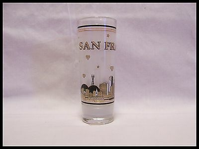 Shot Glass San Francisco Gold Skyline Shooter Illustration Cable Bridge Bay 5008