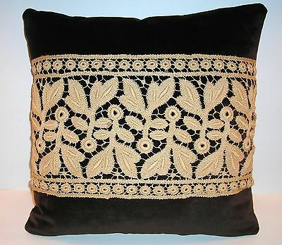 Stunning NEW DECORATIVE PILLOW w/antique tan NEEDLEWORK on brown VELVET 14x14""
