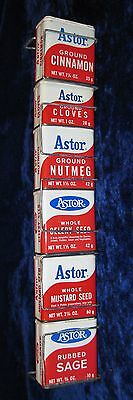 Astor Spices Metal Grocery Store Shelf Hanger Display with 6 Empty Cans #1