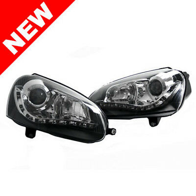 06-09 Vw Mk5 Rabbit/gti/jetta Ecode Black Depo S5 Led Bi-Projector Headlights