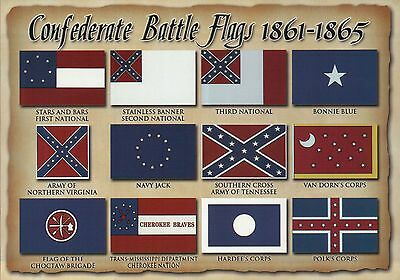 United States of America History Civil War Battle Flags - Military Flag Postcard