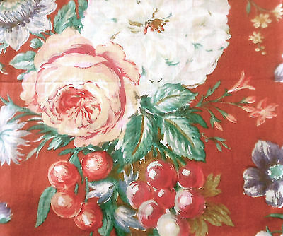 Antique Vintage English Roses Grape Floral Cotton Chintz Fabric~Rust Clay Green