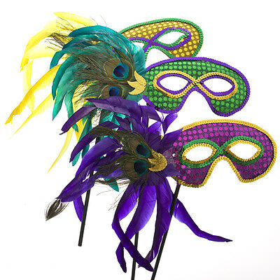 Mardi Gras Handheld Feather Mask