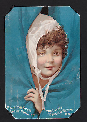 c.1890 child peeks through curtain Domestic sewing machine victorian trade card