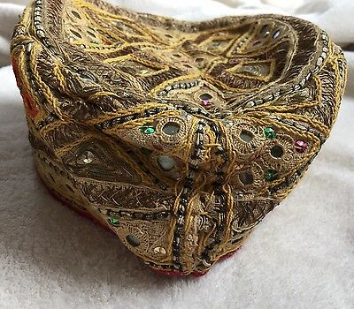 Vintage Cap Hat Metal Gold Embroidered Thread Vintage Ethnic Turkish India