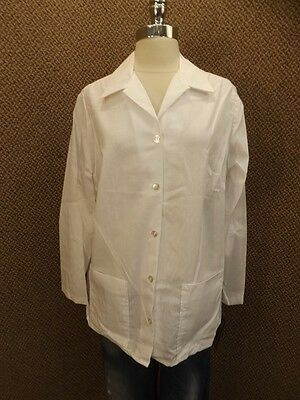 NEW Vtg USA Made Bright White Lab Coat Sz 40 Smock Scrub Medical Art Chef Jacket