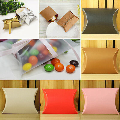 50pcs Wedding Favor Box Cute Kraft Paper Pillow Party Favour Gift Cake Candy BKB