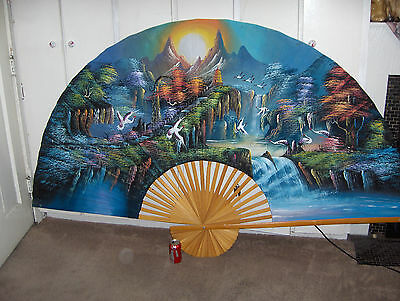 "Vintage 50"" x 85"" Hand Painted Japanese Wall Fan Wood Extra Large NICE"