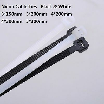 Black /White 3mm-5mm Self-Locking Nylon Plastic Cable Wire Zip Tie Cord Strap