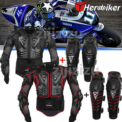 Motorcycle Motorcross Racing Body Chest Protective Jackets + Knee Armor Pad HOT