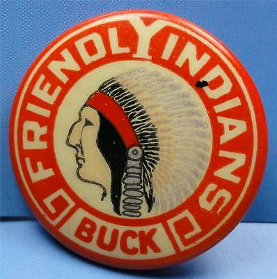 "Cello Pinback FRIENDLY INDIANS ""BUCK"" pictorial (YMCA?) 32mm vintage pin ME4153"