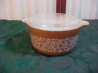 Mid-Century Pyrex Double Handled Brown Woodlands Casserole Dish w/Lid