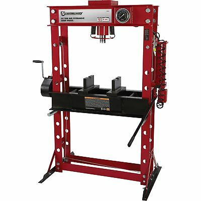 Strongway Air/Hydraulic Shop Press with Gauge and Winch - 45-Ton Capacity