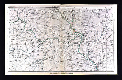 Civil War Military Map Missouri Illinois St. Louis Columbia Jefferson City Alton