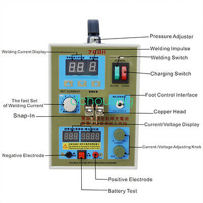 ECO 788H AC 220V LED Dual Pulse Spot Welder  Battery Charger 800 A 0.1 - 0.2 mm