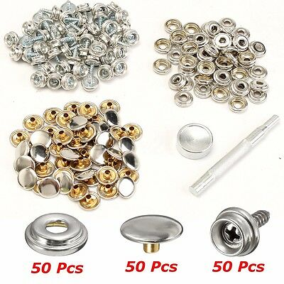 152pcs Stainless Fabric Snap Screw Steel Marine Canvas Cover Button Socket 3/8''