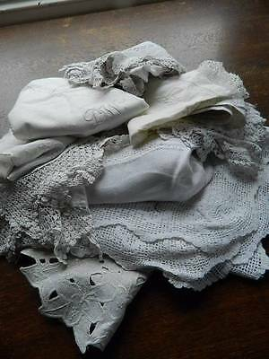 Bundle 11 items vintage white table linen lace & embroidery cloths toppers mats
