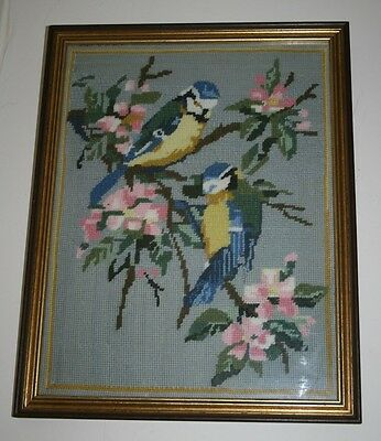 Vintage Hand Sewn Wool Tapestry Picture Blue Tits Wild Birds Solid Wood Frame