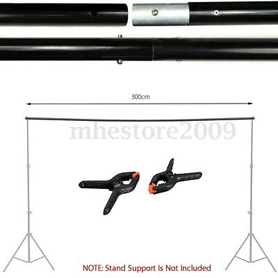 10Ft Adjustable Background Crossbar Kit+2 Clips For Photo Backdrop Support Stand