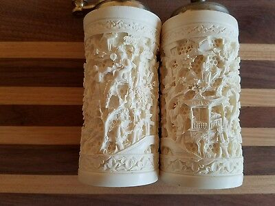 Antique Chinese Bovine Carved Bone Salt and Pepper Shakers - High Relief