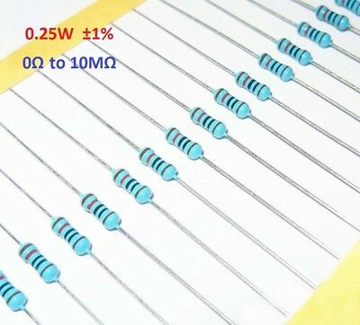 100 x Metal Film Resistor 0.25W 1/4W ±1%- Full Range of Values (0Ω to 10MΩ)