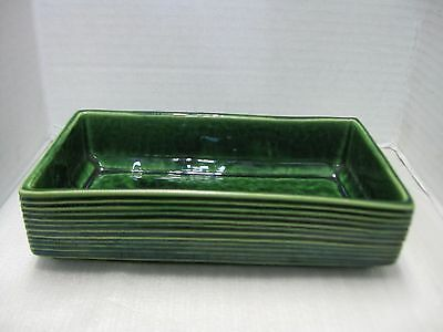 McCoy Pottery Planter Low Rectangle Green Striped Ribbed Pattern #5022