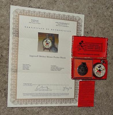"Ex!boxed Set:disney 1934 Ingersoll""mickey Mouse Pocket Watch""-Detail Service+Coa"
