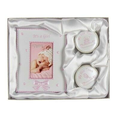 First Tooth & Curl Keepsake Box & Frame Set CG409 Christening Gift Pink Girl NEW