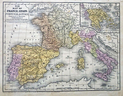 Europe Hand Colored HC 1852 Antique Map, Greece France Spain Portugal Italy