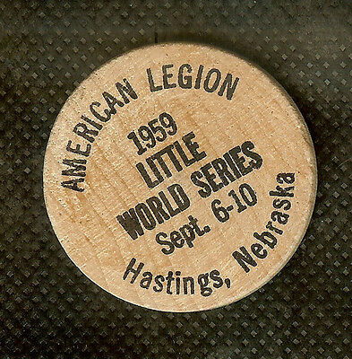 Vintage Wooden Nickel American Legion Little World Series Hastings Nebraska 1959