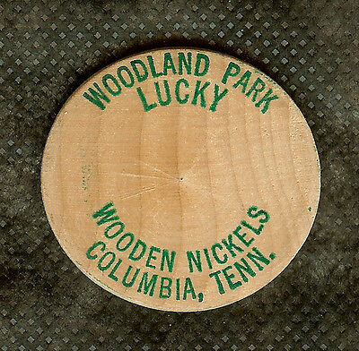 Vintage Wooden Nickel Woodland Park Columbia Tennessee Lucky Wooden Nickels