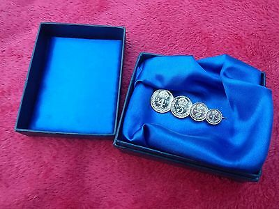 Victorian Silver Maundy Set Brooch 1P 2P 3P 4P Dated 1888 In Beautiful Condition