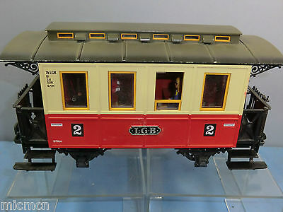 "Lehmann Lgb  ""g"" Model  4 Wheel Passenger Coach +Light & Passengers ""red /cream"""