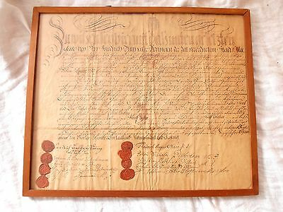 Antique SWEDISH Signed Document 18th century WAX SEALS 1780 Musician framed