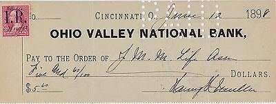 1898 Check ~ Cincinnati Ohio Valley National Bank with I.R. 2 cent Stamp