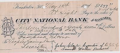 1894 Check ~ City National Bank of Kankakee ~ estate of Sam Walker deceased ~