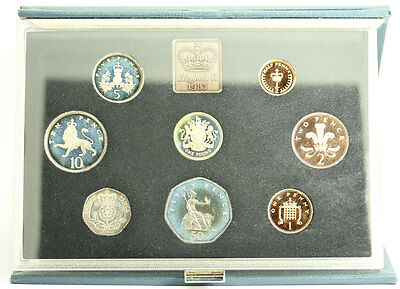 1983 UK Royal Mint Proof Set 8 Coins with COA