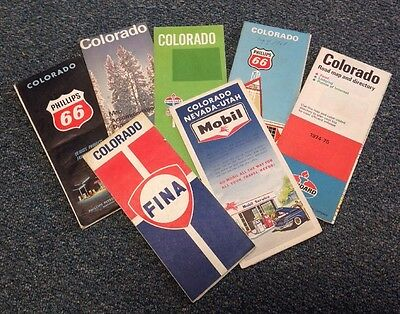 Lot Of 7 Vintage Travel Road Maps USA Colorado Gas Station